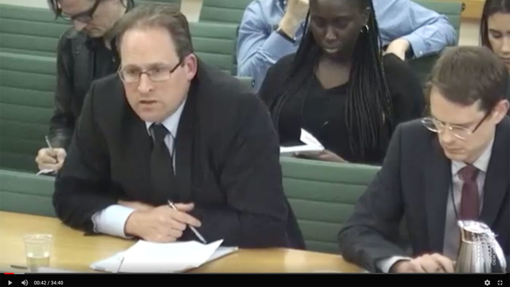 John Heathershaw presenting evidence before UK Foreign Affairs Committee