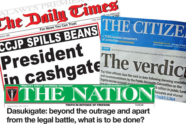 Headlines of scandals from Nigeria, Tanzania, and