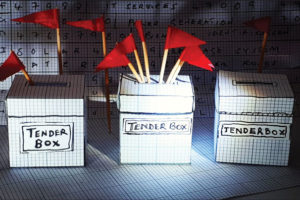 tender boxes with red flags
