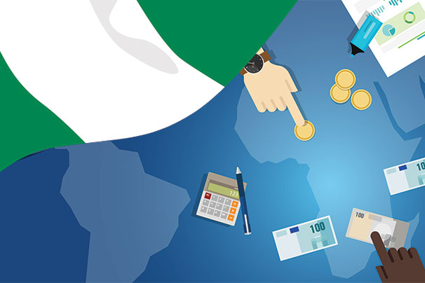 Nigerian flag over world map with hands moving money around African portion of map