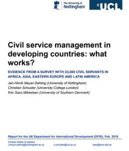 Civil Service Management in Developing Countries: What Works?