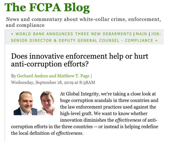 FCPA blog screen shot