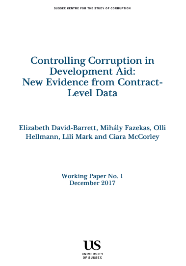 controlling corruption in development aid working paper cover