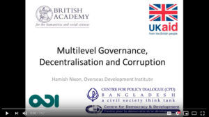 screenshot of video intro slide: Multilevel Governance, Decentralisation and Corruption