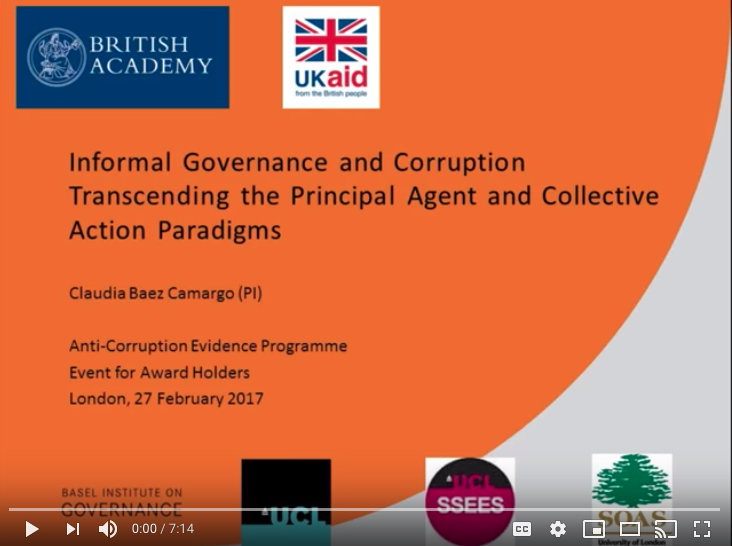 screenshot of video intro slide: Informal Governance and Corruption