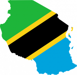 Tanzanian country outline filled with Tanzanian flag
