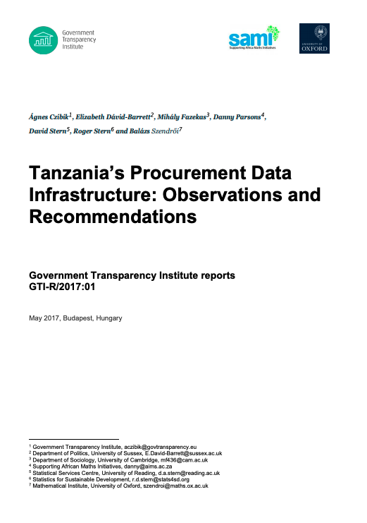 Tanzania Procurement Data Infrastructure policy brief cover