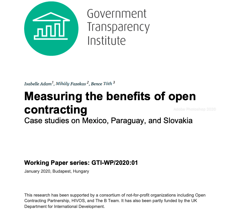 Measuring the benefits of open contracting working paper cover page