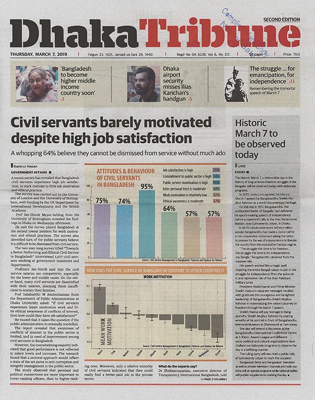 front page of Dhaka Tribune